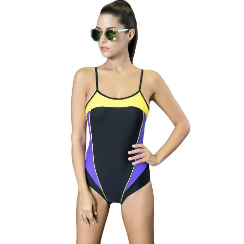 Mujeres atractivas de una sola pieza traje de baño empalme de color corte Strappy sin mangas acolchado traje de baño inalámbrico trajes de baño desgaste de la playa