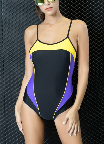 Sexy Women One-Piece Swimwear Color Splice Cut out Strappy Sleeveless Padding Wireless Bathing Suit Swimsuits Beach Wear