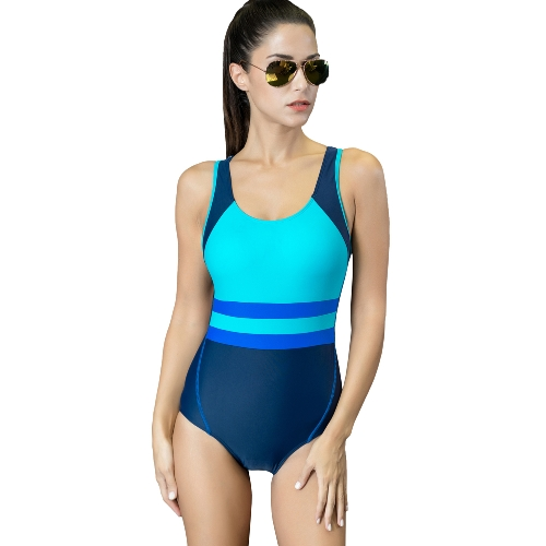Sexy kobiet jednoczęściowy strój kąpielowy kontrast kolor wyściełany strój kąpielowy Monokini strój kąpielowy niebieski / zielony / żółty