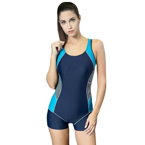 Sexy Women One-Piece Swimwear Color Splice Cut Outless Dressing sem fios Traje de banho Trajes de banho Beach Wear