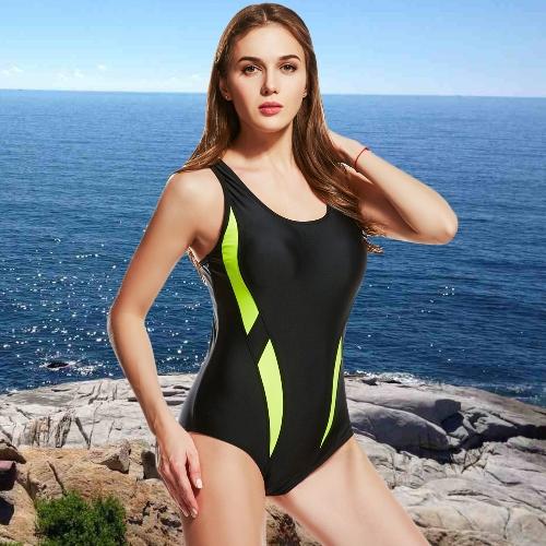 Mujeres atractivas traje de baño de una sola pieza empalme de color sin mangas acolchado traje de baño inalámbrico trajes de baño desgaste de la playa
