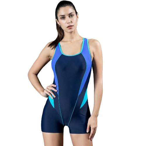 Women Sports One Piece Swimsuit Swimwear Backless Shorts Bodysuit Splice Racing Training Bathing Suit Monokini