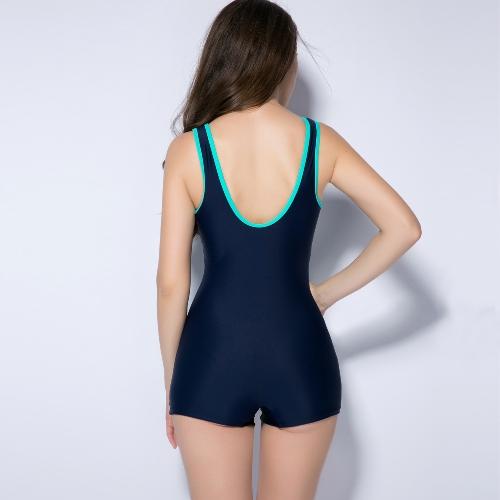 Women Sports One Piece Swimsuit Racing Swimwear Monokini Bathing Suit Beachwear Boxer Bodysuit Black/Dark Blue/Red