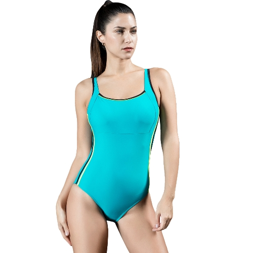 Frauen Sport One Piece Badeanzug Bademode Backless Body Splice Racing Training Badeanzug Monokini