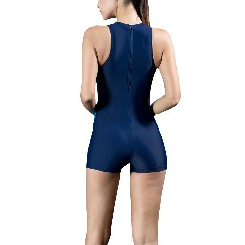 Женщины Спорт One Piece Купальник Racing Купальники Монокини Купальный костюм Beachwear Боксер Bodysuit Black / Dark Blue фото