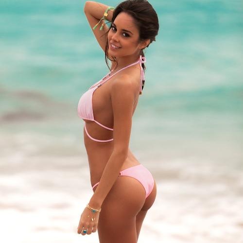 dbceb77cc1 4) Sexy Women Wraparound Halter Thong Bikini Set Leopard Snakeskin Pattern  Swimwear Push Up Swimsuit