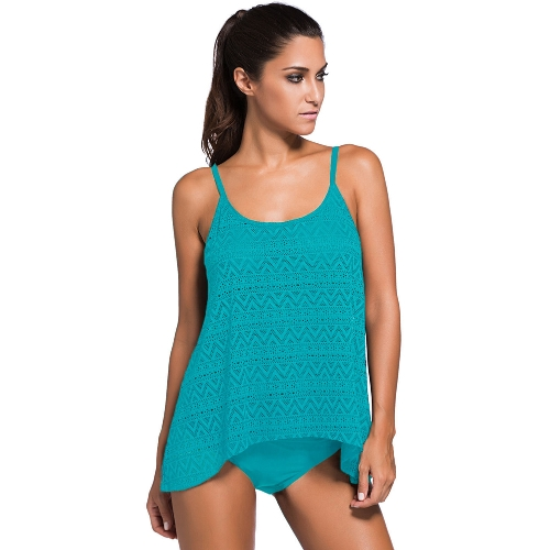 Mujeres atractivas de encaje Overlay Spaghetti Strap Tankini Set Más el tamaño de dos piezas traje de baño Beach Swimwear