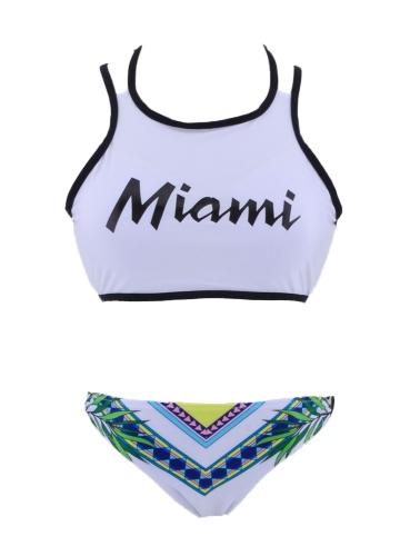 Frauen Bikini Set Buchstaben Print Neckholder Tie Backless gepolsterte zwei Stücke Badeanzug Bademode