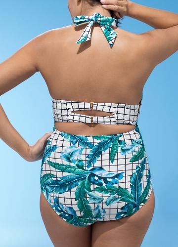 Купить Women Swimsuit Set Plaid Leaves Print Deep V Plus Size Swimwear Beach Playsuit Jumpsuit Rompers