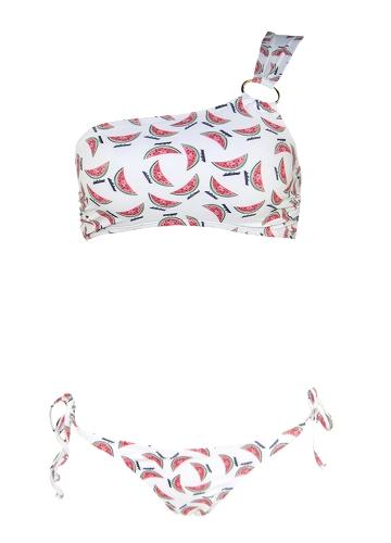 Frauen Wassermelone Print Bikini Set Schulter Push Up Padded Bandage Badeanzug Bademode Badeanzug