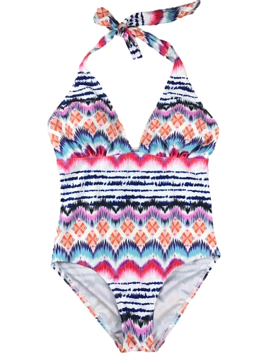 Sexy Women One-piece Swimsuit Colorful Striped Plunge V Halter Monokini Swimwear Bathing Suit Red