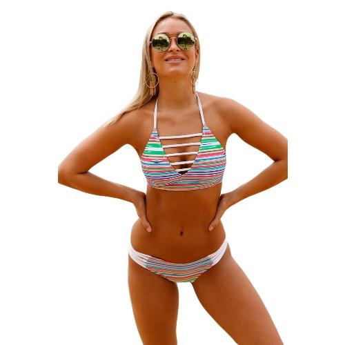 Conjunto de biquíni feminino Multicolor Halter listrado de pescoço Banded Push Up Cintura baixa Sexy Two Piece Swimsuit White
