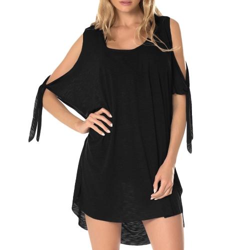 Mujeres de la moda vestido de la túnica del hombro frío encubrimiento Batwing media manga sólido blusa Casual Off hombro vestido