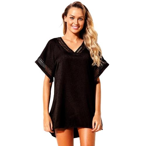 Mode Frauen aushöhlen häkeln V-Ausschnitt vertuschen Strand Sommerkleid unregelmäßigen Casual Bademode schwarz