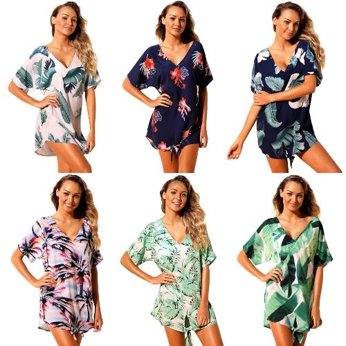 Women Beach Dresses Cover Ups Plants Print Tie Knot Mini Bikini Cover Beachwear