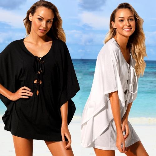 Sexy Women Beach Cover Up Lace Up Kaftan Swimwear Beachwear Loose Bikini Dress Black / White