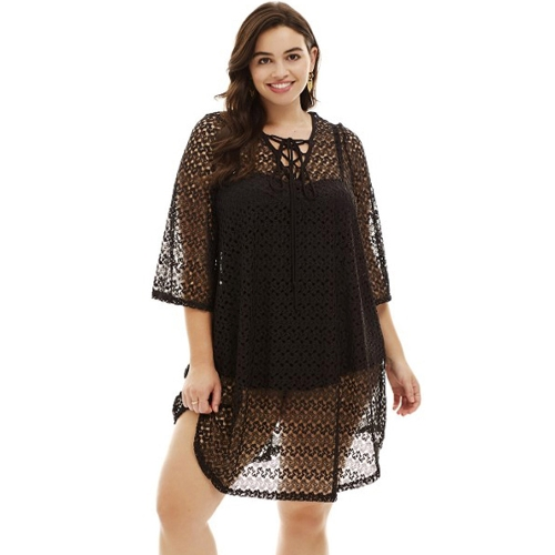 Sexy Women Plus Size Beach Cover Up Crochet Lace Hollow Bandage Bikini Dress Swimsuit Coverups Black / Beige
