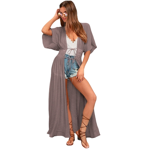 Sexy Kobiety Plaża Cover Up Koronkowa Hollow Out Bandaż Maxi Cardigan Tunika Bikini Swimsuit Coverups White / Khaki
