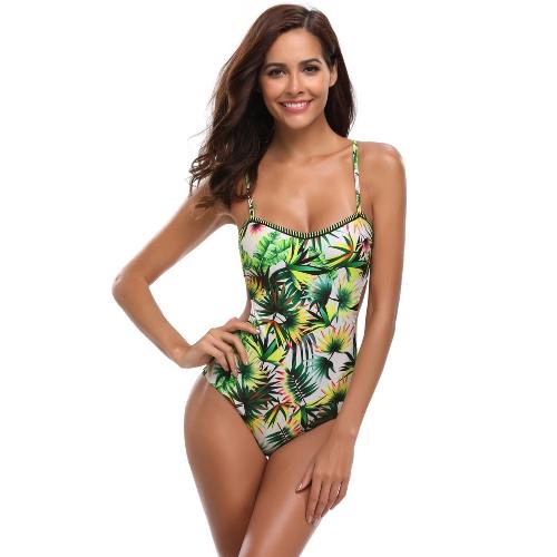Sexy Frauen Badeanzug Badeanzug Bademode Blatt Druck Ausgeschnitten Bandage Badeanzug Backless Beachwear Monokini Grün