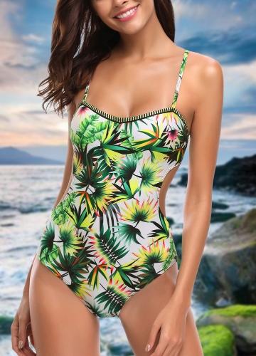Sexy Women One Piece Swimsuit Swimwear Leaf Print Cut Out Bandage Bathing Suit Backless Beachwear Monokini Green