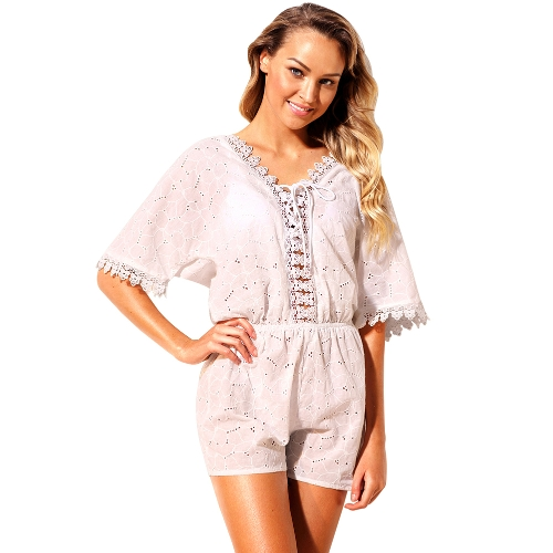 Boho Women Playsuit Floral Crochet Lace Up Bandaż elastyczny pas Hollow Out Loose Beach Holiday Wear White