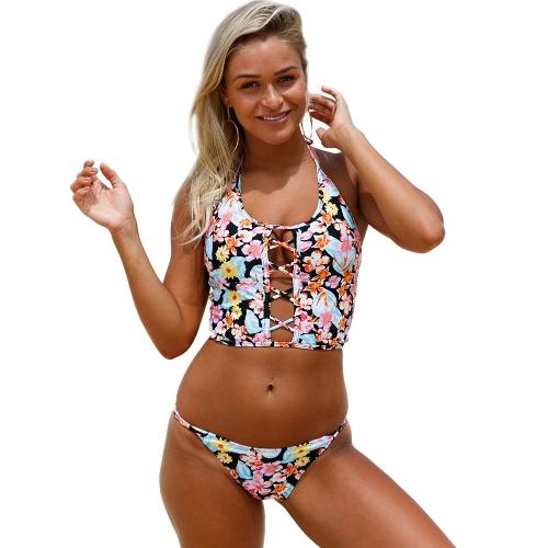 Neue Sexy Frauen Floral Halter Bikini Set Schnüren Zurück Niedrige Taille Riemchen Badeanzug Beachwear Pink