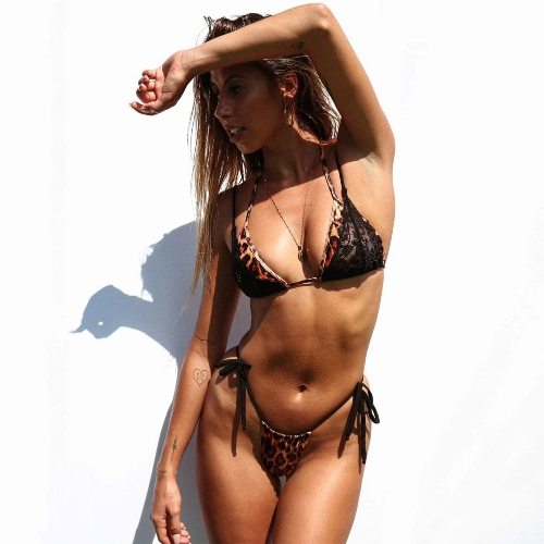 Sexy Women Swimsuits Leopard Print Lace Halter Push Up Bandage Thong Bikini Swimwear Bathing Suit Black