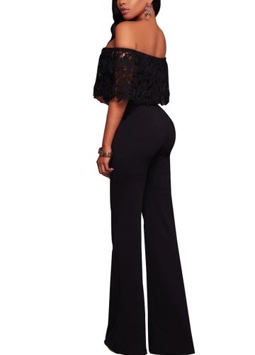 TOMTOP / Women Sexy Jumpsuit Lace Off the Shoulder Bodysuit Slash Neck Wide Leg Trousers Overalls