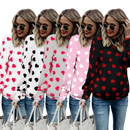 Mode Frauen Bluse Herz Print High Neck Langarm Casual Lose T-Shirt T-Tops