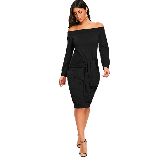 Kobiety Sexy Off Shoulder Dress Tie Front Bodycon Solidna sukienka Party Clubwear