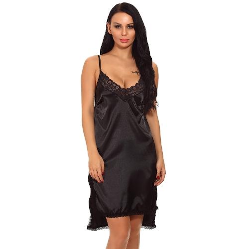 Mulheres Cetim Slip Vestido Chemise Camisola de Renda Com Decote Em V Lateral Assimétrica Hem Lingerie Pijamas Pijamas