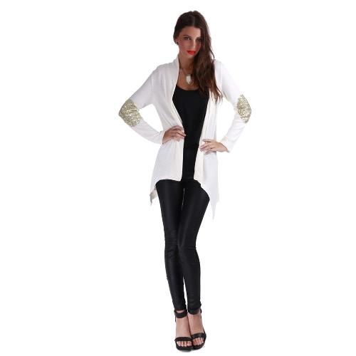 Nueva moda mujeres chaqueta cortina frontal abierto Patchwork con lentejuelas blusa manga larga Casual