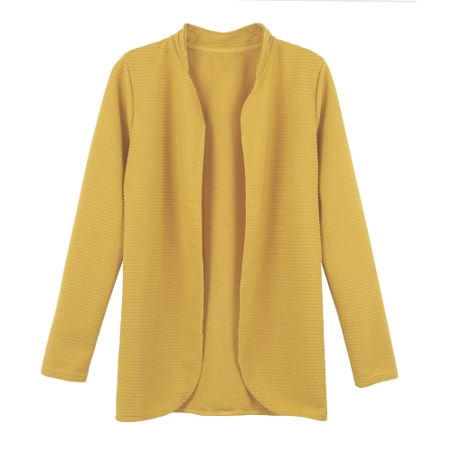 Frente abierto de nuevo las mujeres abrigos largo manga Cardigan OL abrigo chaqueta chaqueta capa negro/rosa/amarillo a rayas