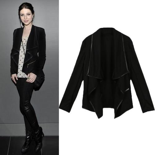 TOMTOP / Nova moda mulheres casaco sólido Irregular Turn Down colarinho manga comprida Zipper decoração Cardigan casaco jaqueta Outerwear solto preto