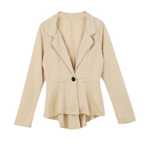 106f4d9983b 13) New Fashion Women Blazer Button Front Long Sleeve Irregular Hem Slim  Short Jacket Coat Outerwear