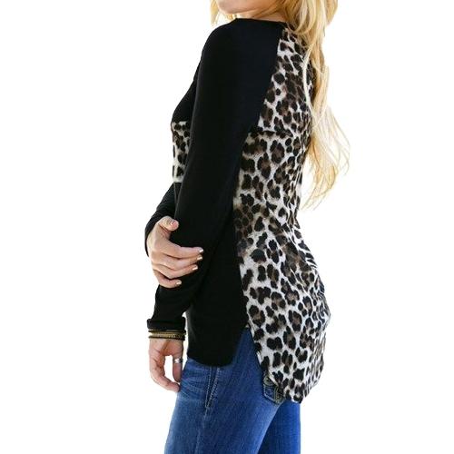 Europa Sexy Frauen Mädchen Bluse Chiffon Leopard Print Patchwork unregelmäßige Saum O Hals lässige Langarmshirts T-Shirt Streetwear schwarz