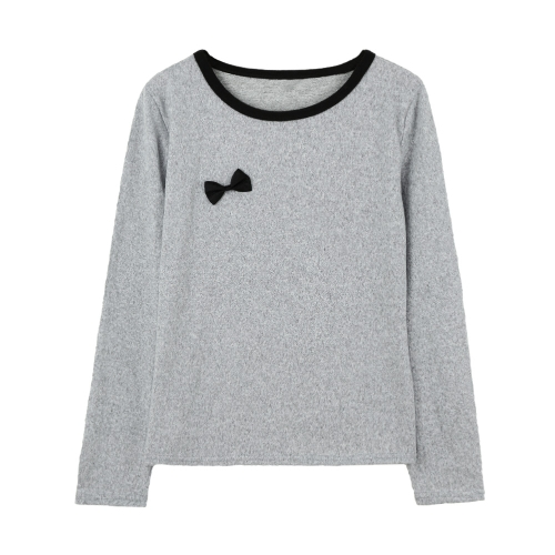 Europa nuevo mujeres chica blusa Bowknot O cuello jersey camiseta ocasional Camisera Tee Streetwear gris/negro