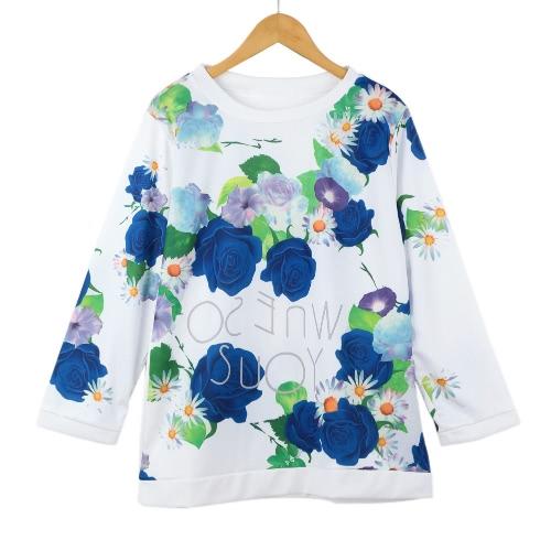 Damska koszulka trykotowa Damska Koszulka z Nadrukiem O-Neck Trzysta Bluzka Bluzki Tee Tops Bluza z Kapturem Sportowym