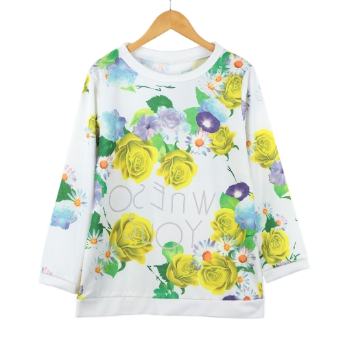 Casual Women T-Shirt Floral Printed O-Neck Three Quarter Sleeve Blouse Tee Tops Sport Pullover Sweatshirt