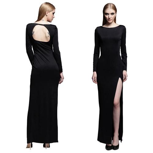 Sexy Frauen Maxi Kleid öffnen wieder hoch O-Neck lange gespalten Hülse rückenfreie schlanke Partei langes Kleid schwarz