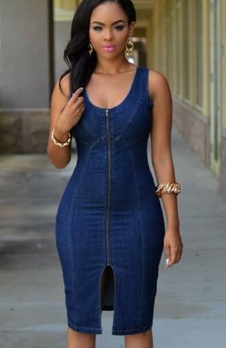 Nueva mujer verano Midi vestido Denim estilo cremallera Split O cuello sin mangas vestido Casual sólido azul