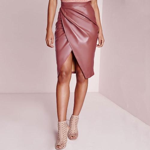 Mulheres Sexy novas PU saia cintura alta frente transversal cor sólida velo forro Midi saia rosa/Borgonha/Dark Green