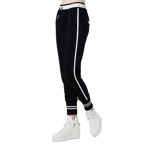 Moda donna Harem pantaloni a righe con coulisse elasticizzata tasche Yoga Sport Casual pantaloni larghi