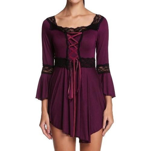 Nueva moda mujeres blusa encaje detalle de encaje hasta Plaza Collar Flare de 3/4 manga Top Negro/Borgoña/púrpura
