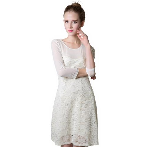 Sexy Damen Minikleid floraler Spitze Aushöhlung Mesh O Hals 3/4 Sleeve schlank Party süßes Kleid weiß
