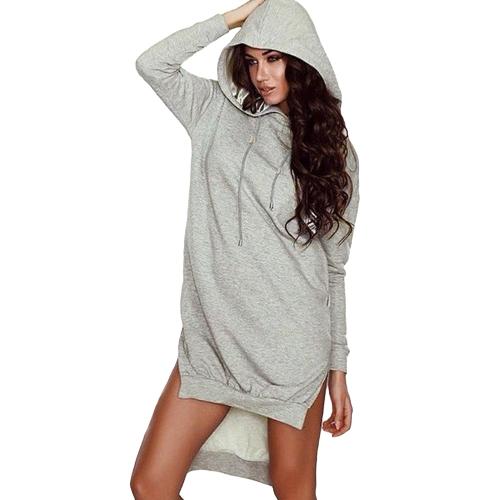 Mode Frauen lange Hoodie Taschen Split Pullover Kapuzensweatshirt lose Pullover Tops hellgrau