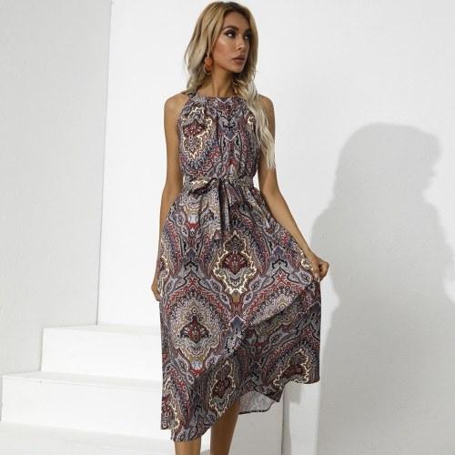 Printed High Waist Midi Dress
