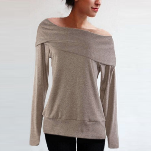Moda mujer flojo suéter de hombro barra cuello manga larga otoño invierno abrigo tapas gris/café