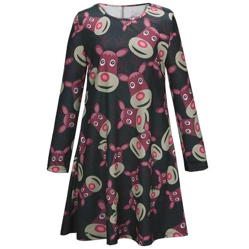 Nueva moda mujer impresión renos Mini vestido Color bloque redondo cuello manga larga verde/rojo/negro una pieza Linda