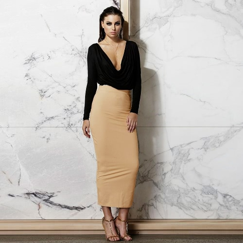 Nuevo Sexy mujer vestido dos piezas V profunda cuello volantes manga larga cultivo superior cintura alta falda conjunto negro/blanco/Beige